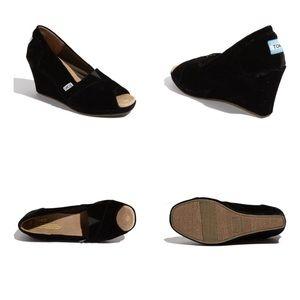 Toms Black Velvet Peep Toe Wedge Heel 8.5 8 1/2
